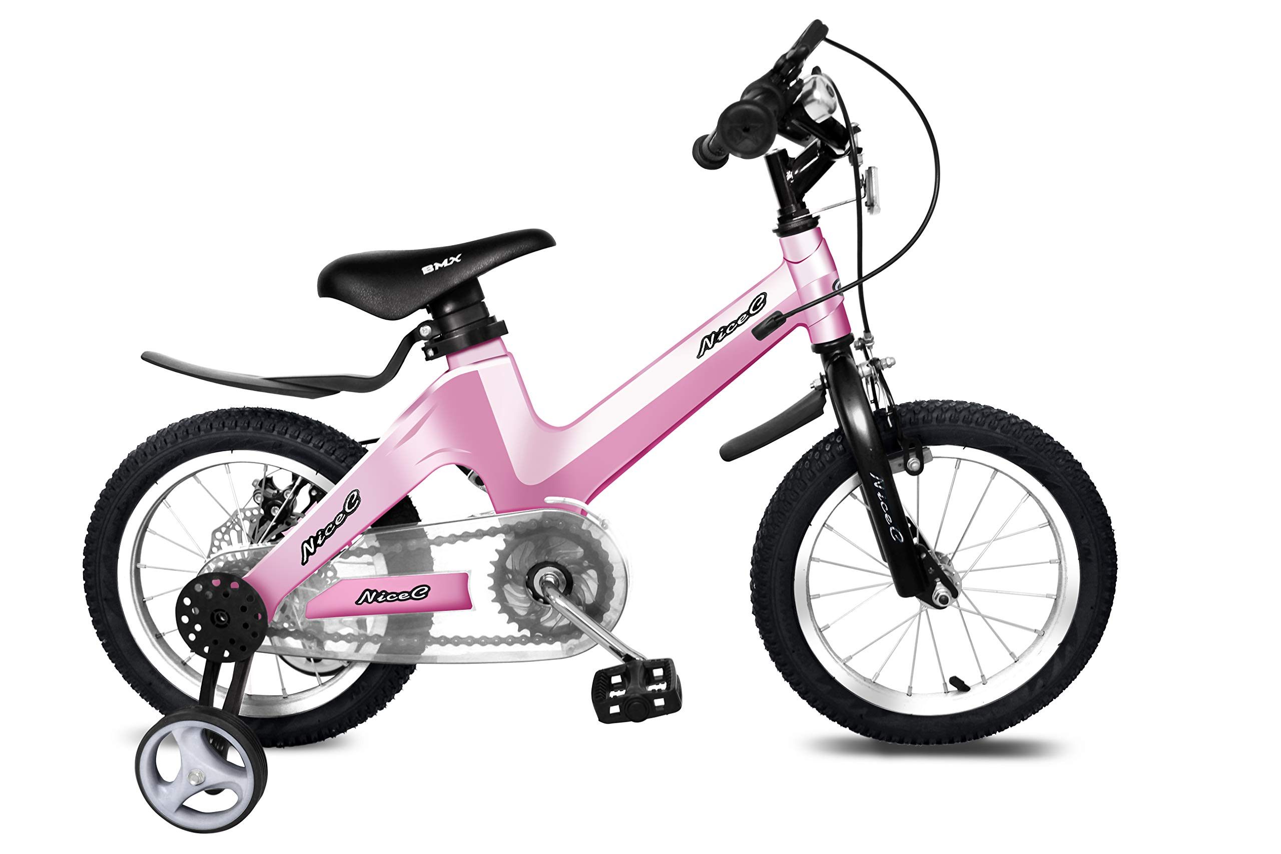 Nice C BMX Kids Bike with Dual Disc Brake for Boy and Girl 12-14-16-18 inch Training Wheels (16'' Pink)