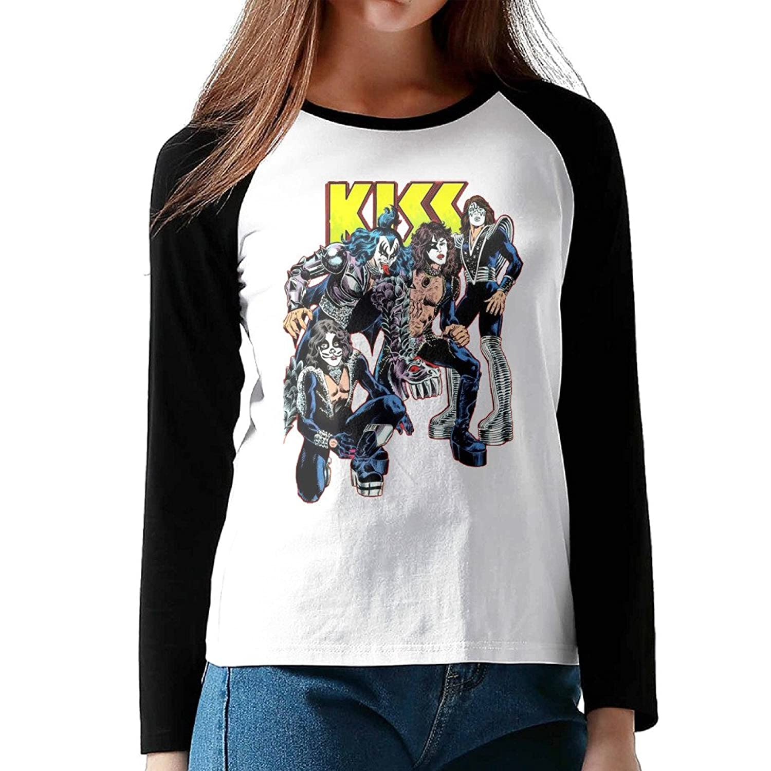 Kiss Band Black Girls Blended Contrast Shirts