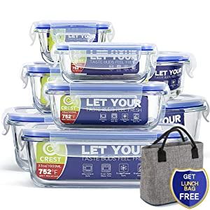 [8-Pack+ Lunch Bag Free] Glass Containers with Lids for Food Storage Airtight - Glass Lunch Containers - BPA Free