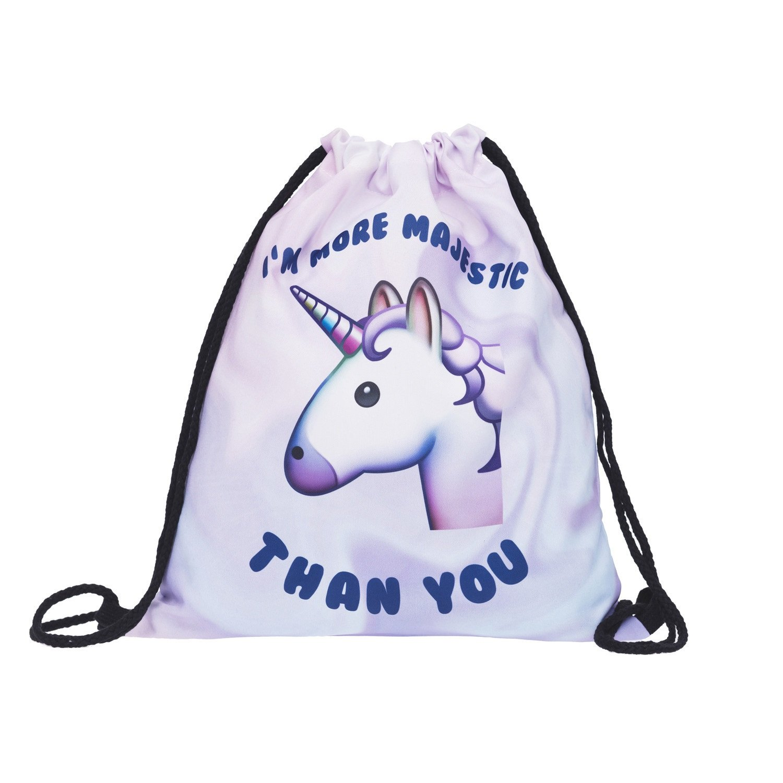 Aigemi Unicorn Print Drawstring Gym Sport Bag, Large Lightweight Gym Sackpack Backpack School Rucksack (Style - 002)