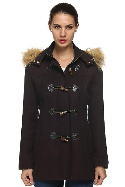fc3e95082157 ACEVOG Damen Dufflecoat Casual Kapuzemantel mit Fellimitat Wollmantel  Outerwear Winter Herstellergröße  S-XXL  Amazon.de  Bekleidung