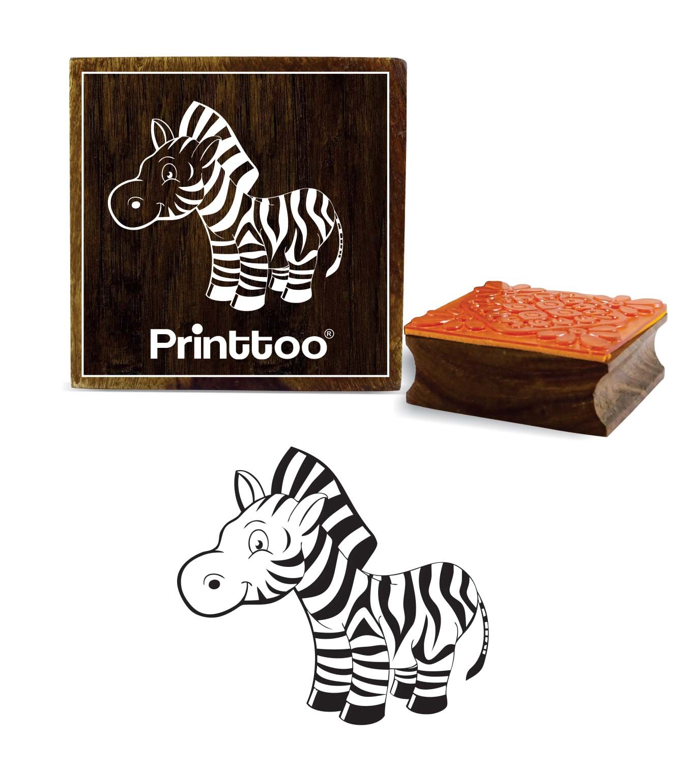 Printtoo Horse Head Pattern Wooden Square Rubber Stamp Craft Textile DIY Stamps-3 x 3 inches