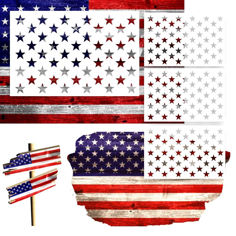 Star Stencil American Flag 50 Star for Painting on Wood Crafts Fabric//Airbrush//Reusable Stencil//DIY Drawing Painting Craft Projects//Glass and Wall 9 Pieces 3 Large 3 Medium 3 Small