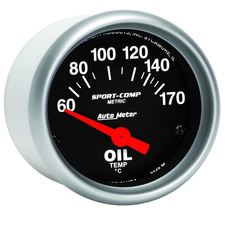 Auto Meter 3348M Sport-Compact Short Sweep Electric Oil Temperature Gauge PRRXE 3344M