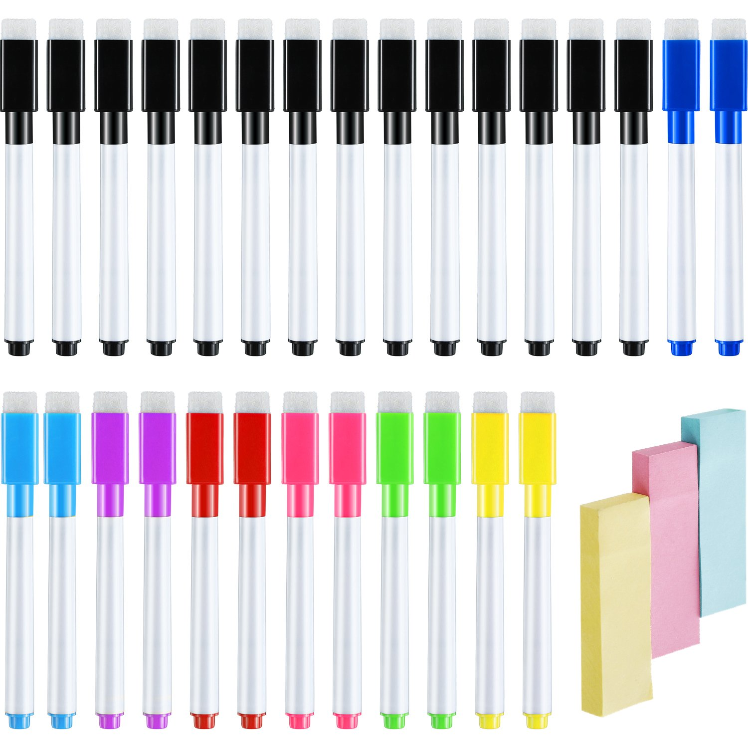 Jovitec 28 Pieces Dry Erase Whiteboard Marker Pens, Black Colorful Low Odor Erasable Pens with Built-in Eraser and 300 Sheets Trisect Sticky Notes