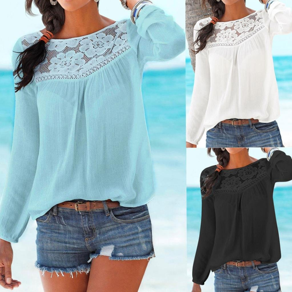 da711b95 ❤ Clearance Solid Color Long Sleeve Shirt T-Shirt Women Casual Long sleeve  Lace Patchwork Tops Blouse Sweaters Loose Duseedik: Amazon.com: Grocery ...