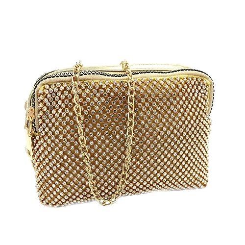 62a2f9f8a0 MICHELLE MOON Borsetta donna borsa clutch con strass da sera cerimonia  v4098 oro