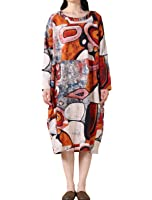 Voguees Femme Printing Round Collar Manches Longues Dress