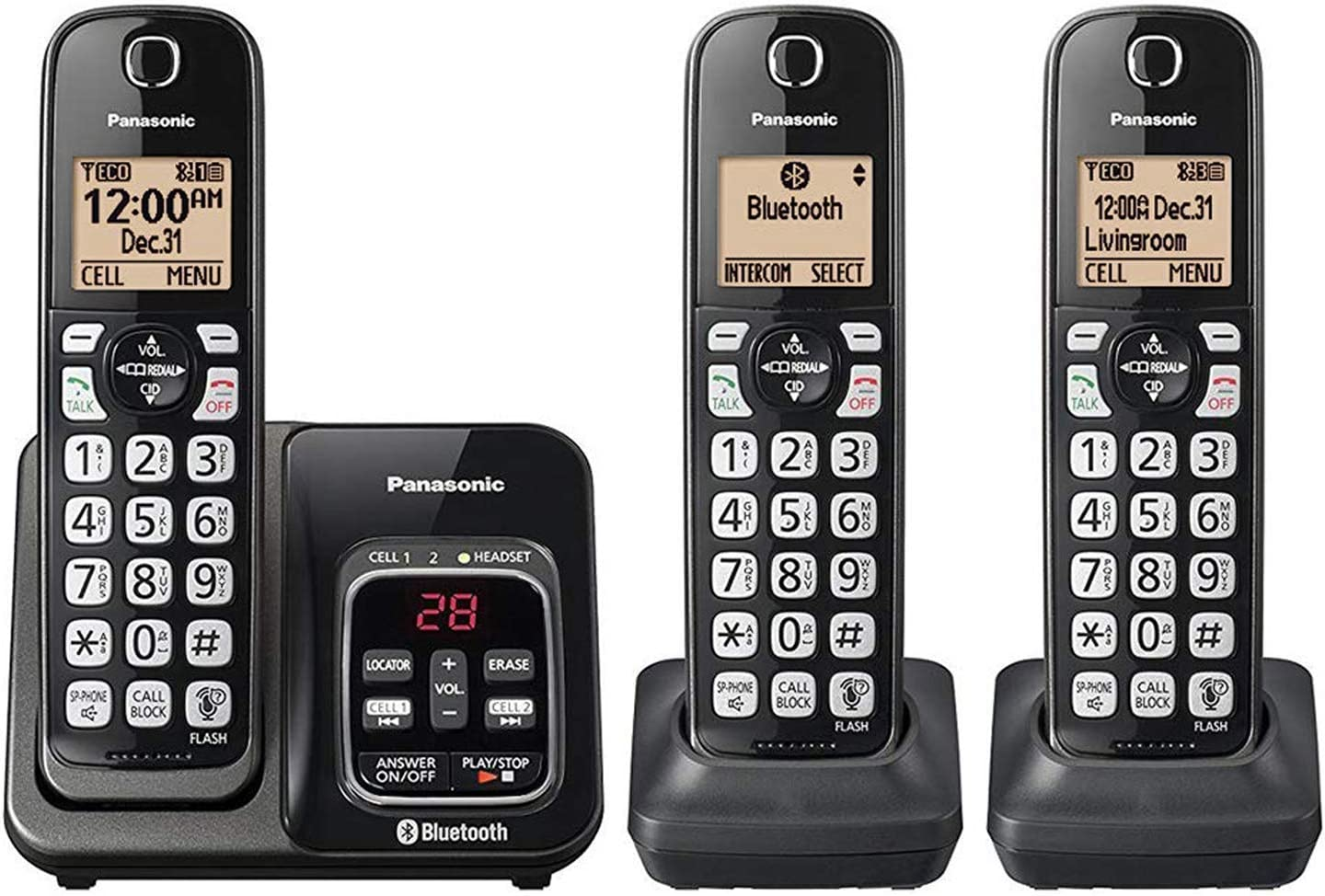 Panasonic KX-TG833SK Bluetooth Link2Cell Cordless Phone with Voice ...