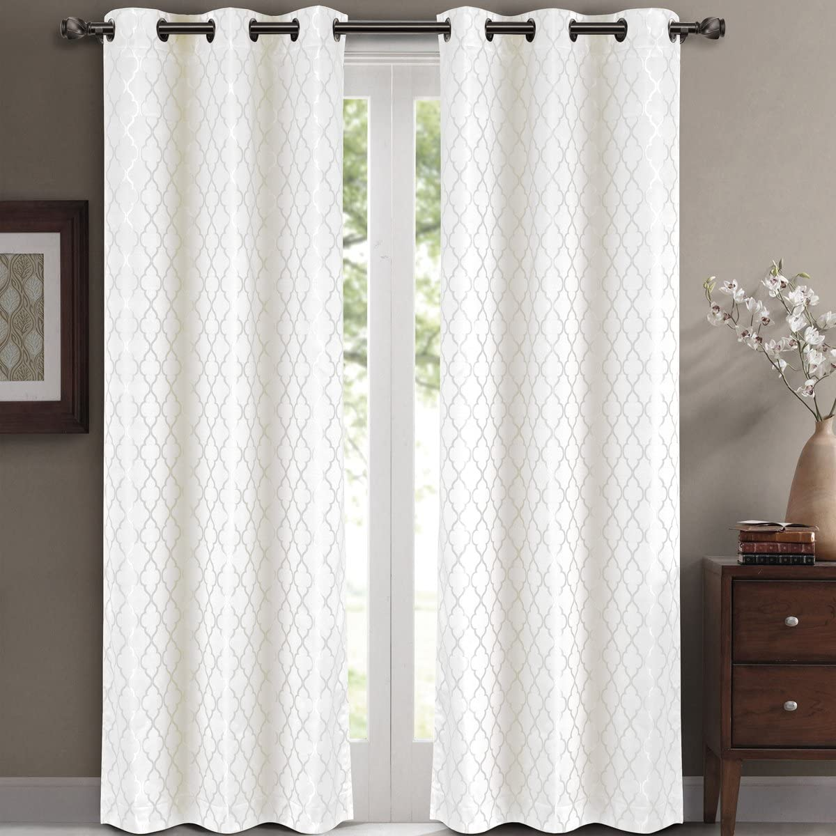 Pair of Two Top Grommet Blackout Jacquard Curtain Panels, Triple-Pass Foam Back Layer, Elegant and Contemporary Willow Blackout Panels, White, Set of Two 42 by 108 Panels 84 by 108 Pair