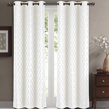 Amazon.com: Willow Jacquard White Grommet Blackout Window Curtain ...
