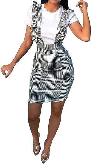 New Ladies Hound Dog Tooth Tartan Check Pinafore Frill Women Party Mini Dress