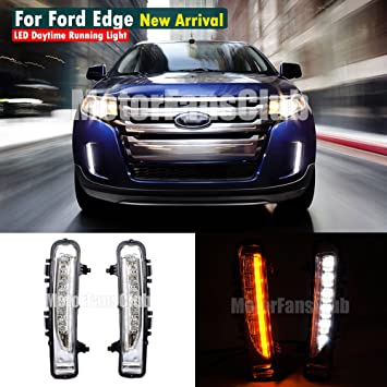 Amazon Com Motorfansclub Led Daytime Running Lights For   Ford Edge Drl Fog Lamp Xenon White Led As Drl Amber Yellow Led As Turn Signals