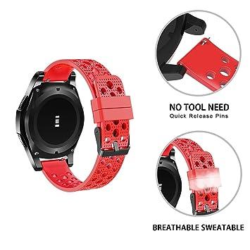 Ceston Respirable Deporte Silicona Clásico Correas para Smartwatch Amazfit GTR (47mm, Rojo)