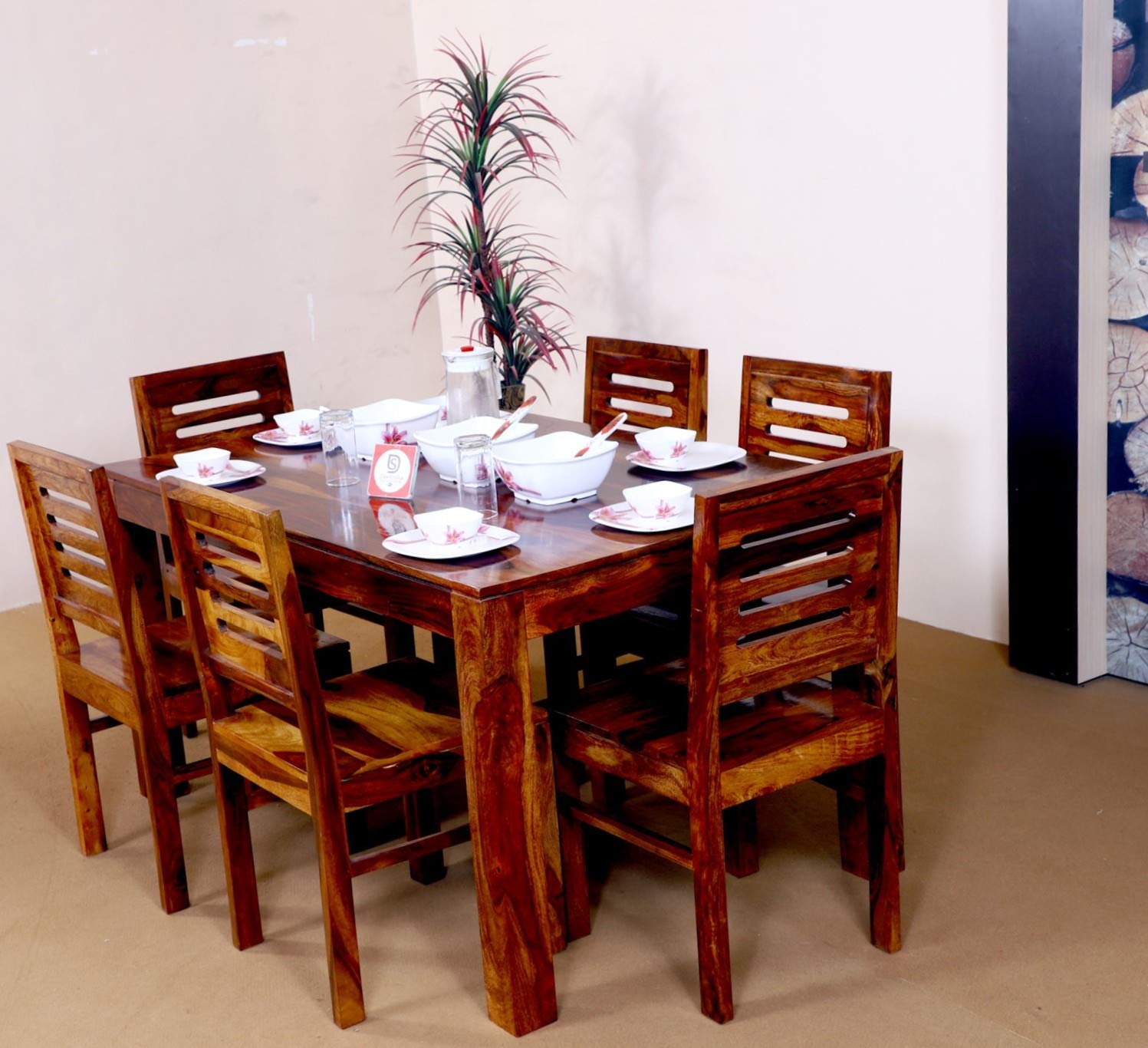 Santosha Decor Sheesham Wood 6 Seater Dining Table With Chairs For
