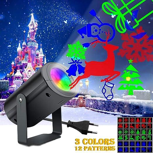 Proiettore Luci Bianche Natalizie.Xianrui Proiettore Luci Natale Esterno Impermeabile Lampade Del Paesaggio Del Riflettore Rotante Delle Precipitazioni Nevose Bianche Dei Fiocchi Di
