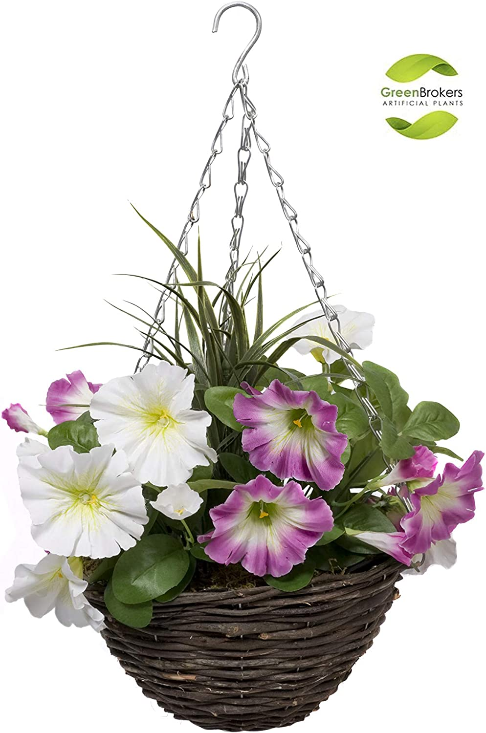 Set of 2 GreenBrokers Hanging Baskets 2X Artificial Round Rattan Pink /& White Petunias and Decorative Grasses