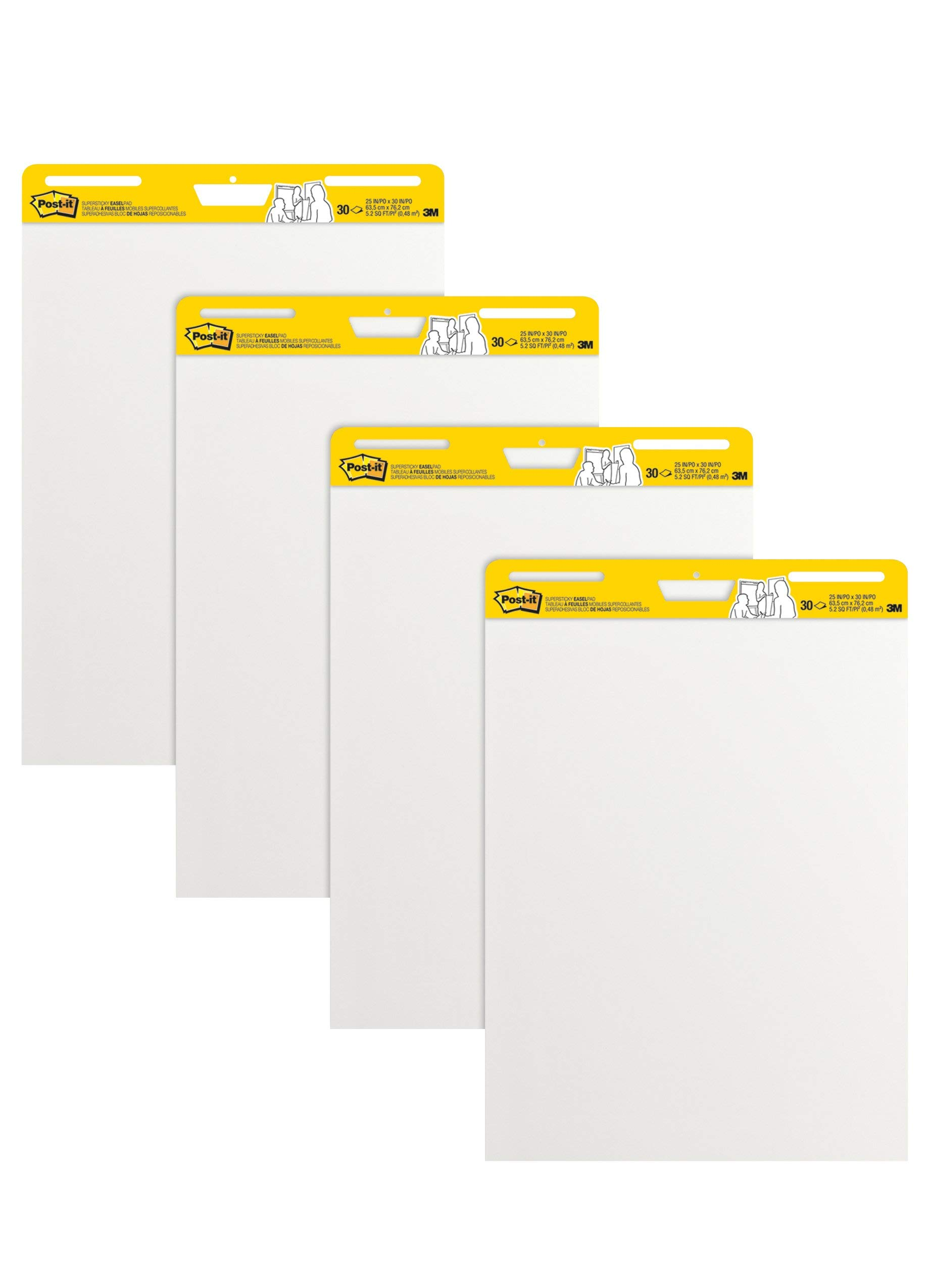 Post-it Super Sticky Easel Pad, 25 x 30 Inches, 30 Sheets/Pad, 4 Pads, Large White Premium Self Stick Flip Chart Paper, Super Sticking Power (559-4) (Renewed)