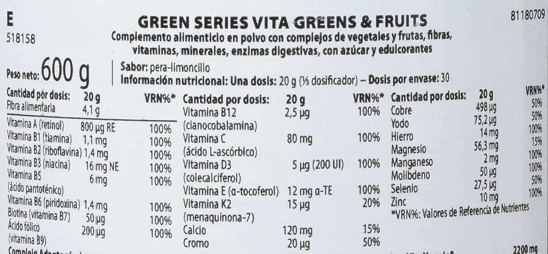 Scitec Vita Greens & Fruits Fórmula De Verduras, Vitaminas Y Minerales - 600 gr: Amazon.es: Salud y cuidado personal