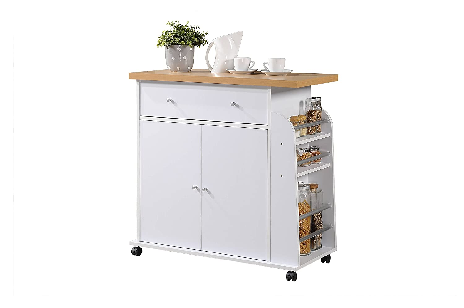 Hodedah HIK65 White Import Kitchen Island with Spice and Towel Rack, White Hodedah Import