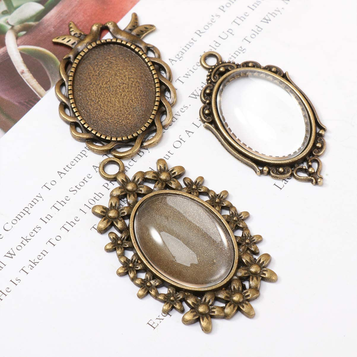 Healifty 12 Sets Antique Blank Bezel Pendant Trays Oval Glass Cabochon Bases DIY Jewelry Making Accessory