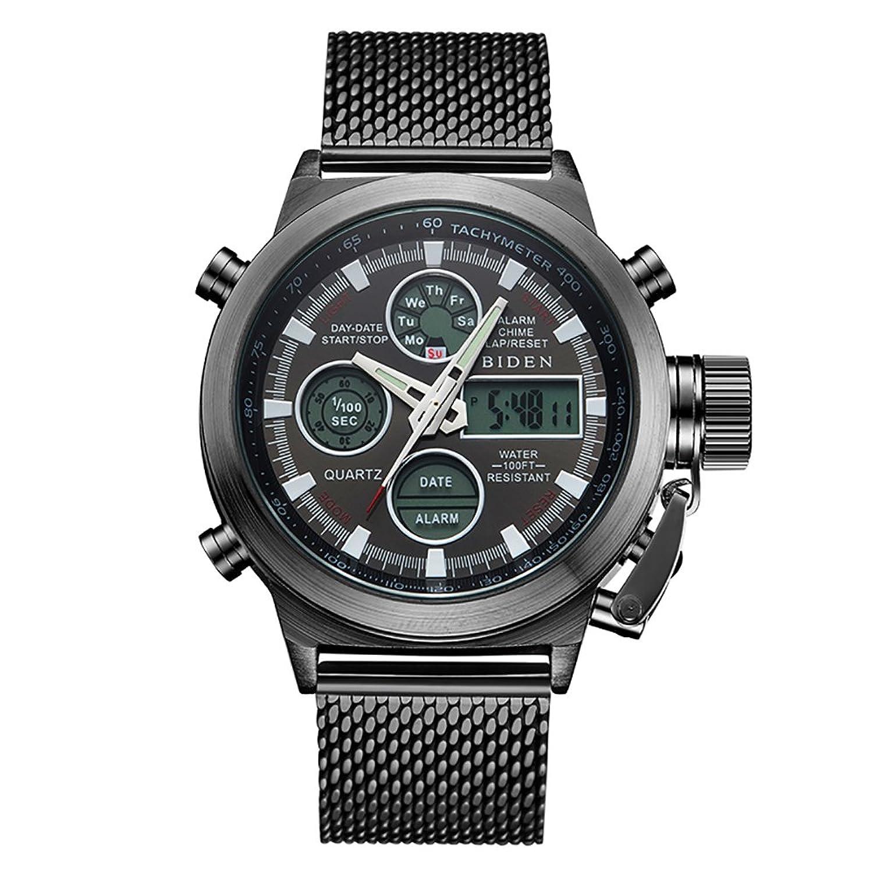 Amazon.com: BIDEN Brand New Arrival LED Digital Mesh Stainless Strap Quartz Sport Military Watch (Black): Watches