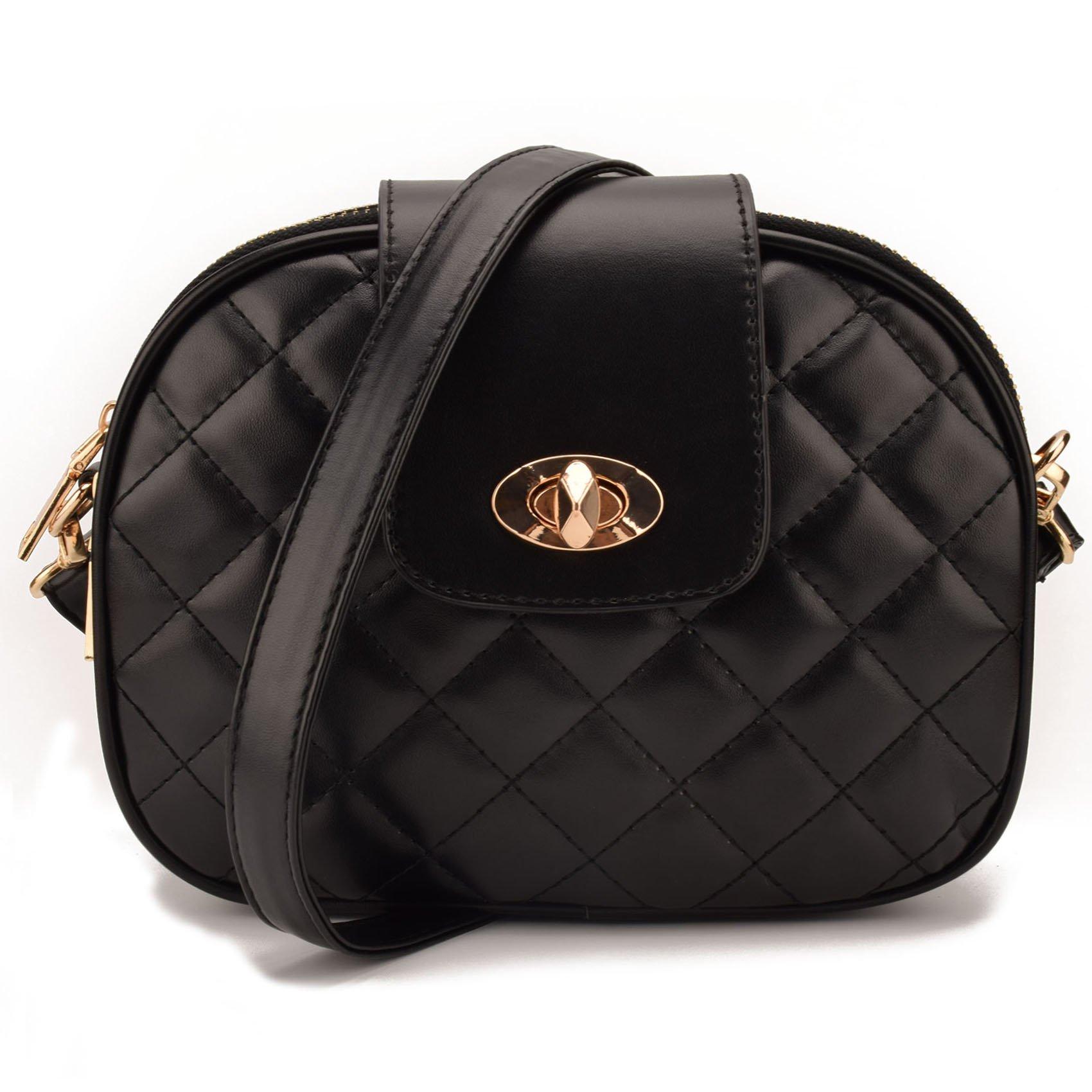 JIARUO Women PU Leather Cross body bag Purses flap Triple main pocket Handbag (Black)