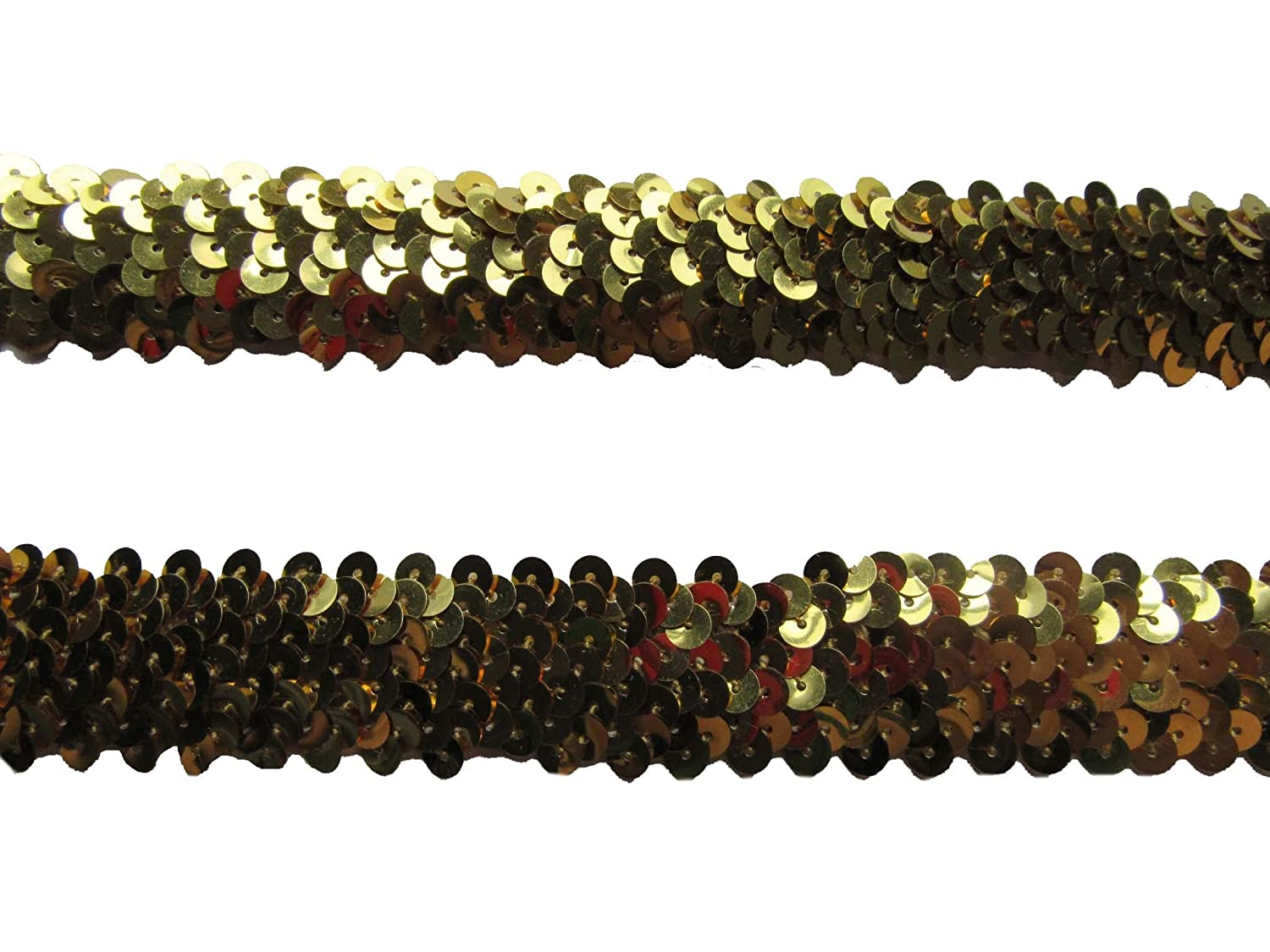 YYCRAFT 5y Large Elastic Sequins 1 Gold Ribbon Trim Sewing Craft for Hair Ties Headbands
