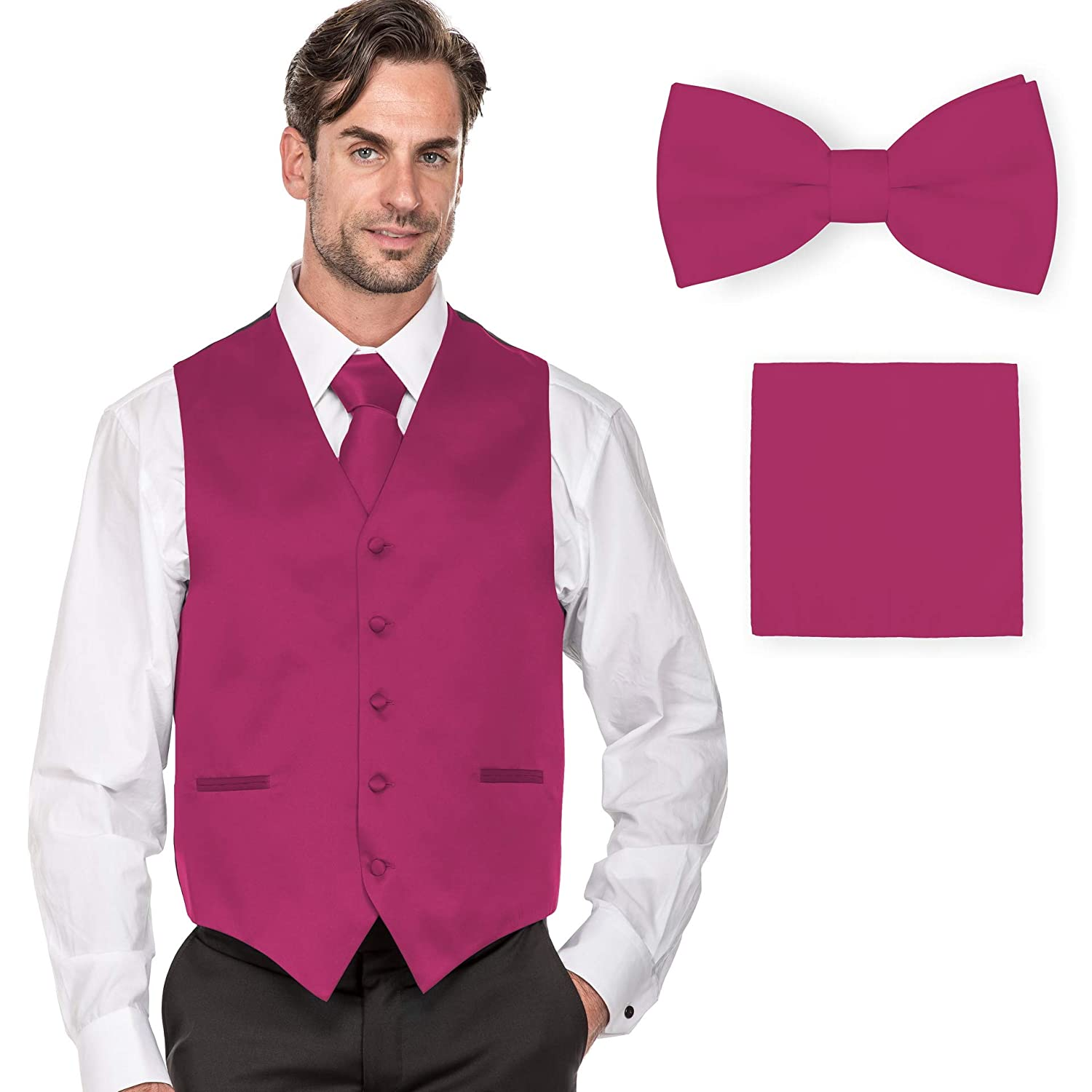 40dd13a962a7 MILANO VICHEE Men's Plain Color Tuxedo Vest (4Pcs Set Vest+Tie+Hanky+Bowtie)  at Amazon Men's Clothing store: