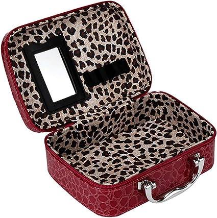 Estuche organizador efecto cocodrilo - Para guardar maquillaje / cosméticos / esmalte de Uñas rojo rosso: Amazon.es: Belleza