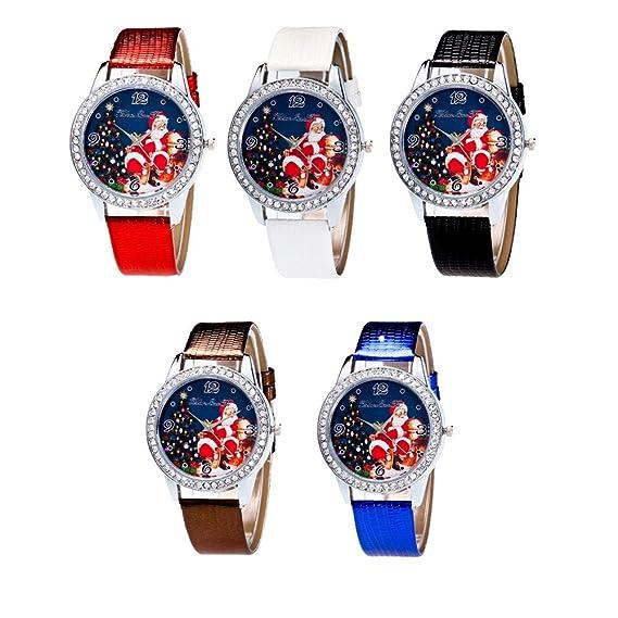 Al por mayor. SINMA 5 Regalos para Navidad, mujeres reloj rhinestone correa de piel sintética analógico cuarzo reloj de pulsera: Amazon.es: Relojes