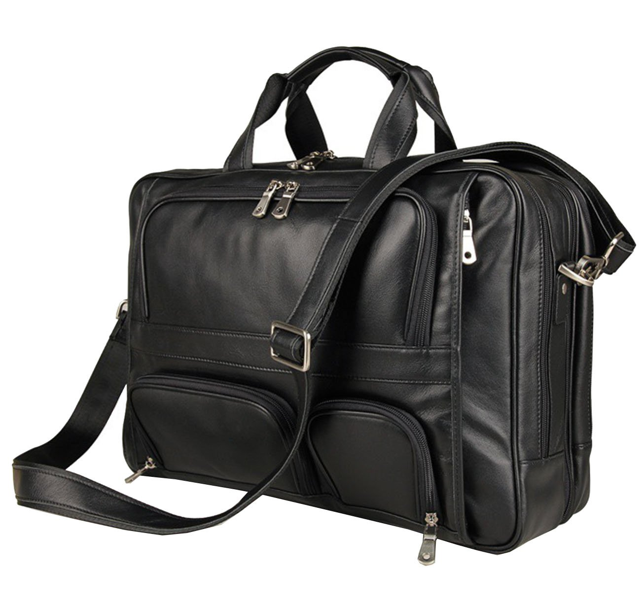 Totes Bag Leather,Berchirly Men Vintage Black Genuine Leather Briefcase 15.6Inches Computer Laptop Office Business Messenger Bag