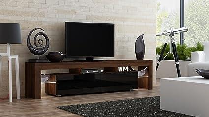 TV Stand MILANO 200 Walnut Line Modern LED Cabinet Living Room Furniture