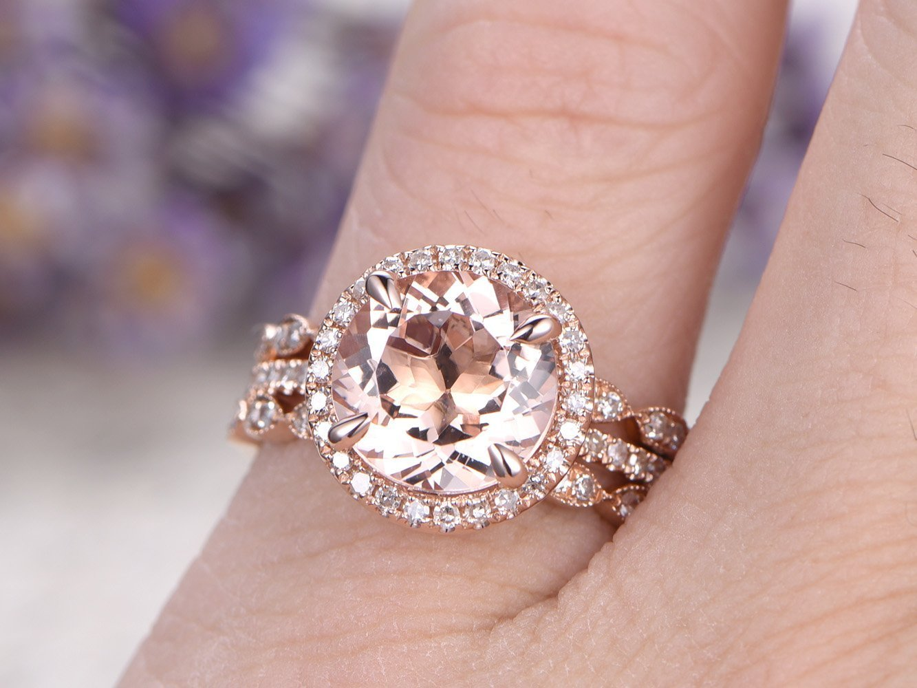 Amazon.com: 3pcs Pink Morganite Engagement Ring Set,8mm Round Cut ...