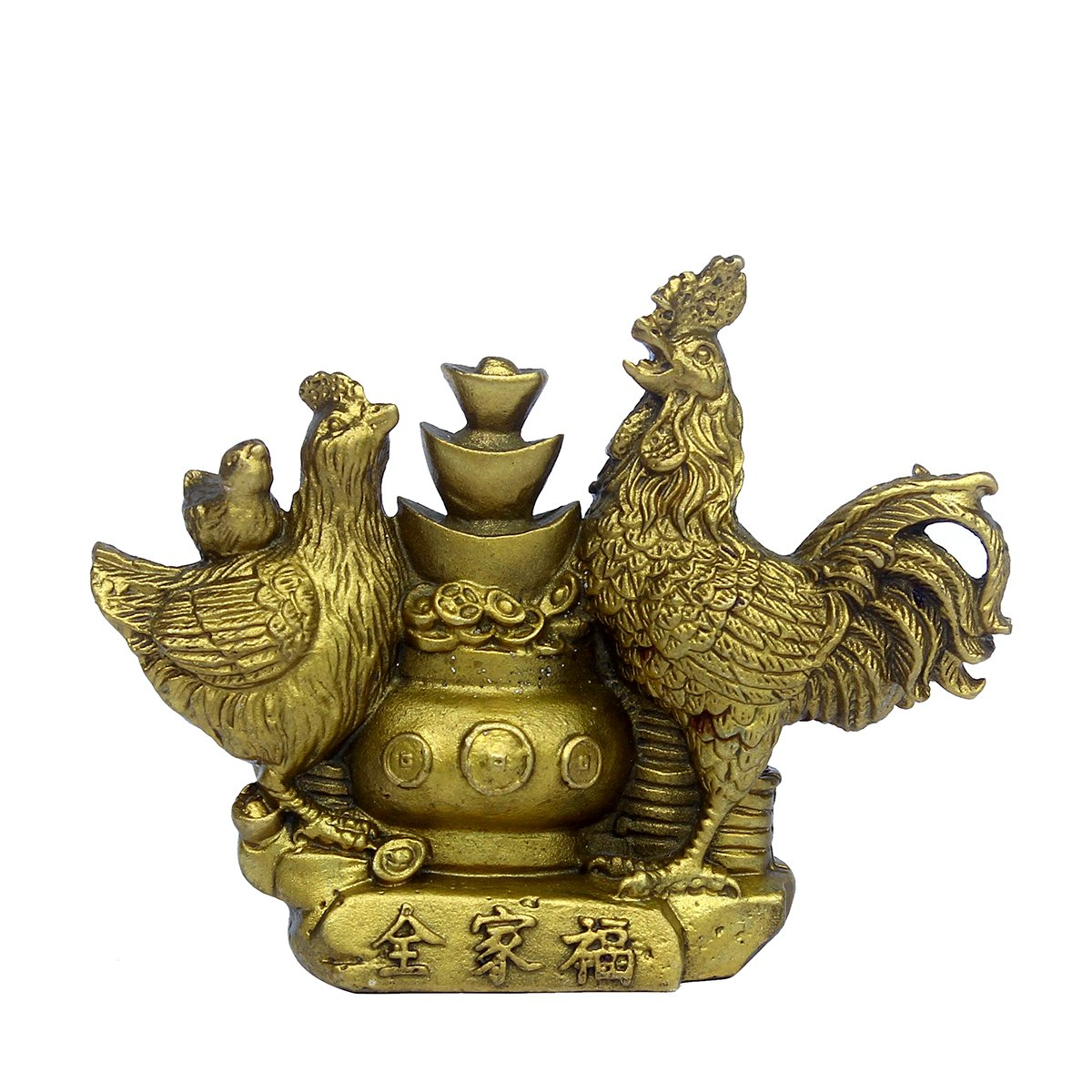 Chinese Fengshui Folk Handicraft Cock Copper Rooster Statue Sculpture Collectible Figurines (quanjiafu)