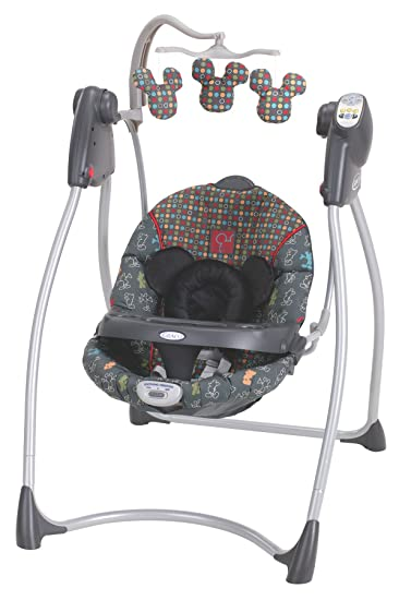 Graco Lovin Hug Easy Entry Open Top Curved Frame Swing Mickey