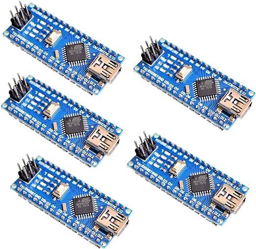yoochin 5 Pack/Lot Nano 3.0 Controller Compatible con Arduino Nano CH340 controlador USB con el cable NANO V3.0 ATMEGA328P: Amazon.es: Electrónica