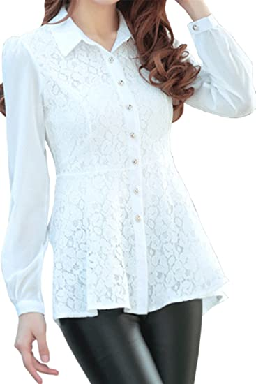 bbec1392802ce Unomatch Women Lace Decorated Long Sleeves Shirt and Blouse White at Amazon  Women's Clothing store: