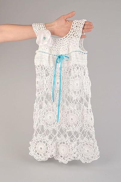 Vestido Infantil Tejido A Ganchillo De Hilos Acrílicos Blanco Artesanal