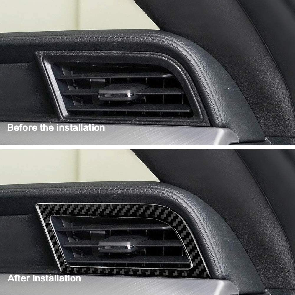 ramuel Compatible with Carbon Fiber Dashboard Air Conditioner Vent Outlet Covers Trim for Ford Mustang 2015 2016 2017 2018 2019 2020 (2pcs Black)