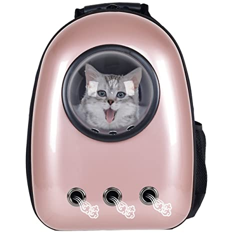 Giantex Astronaut Pet Cat Dog Puppy Carrier Travel Bag Space Capsule Backpack Breathable Golden Rose