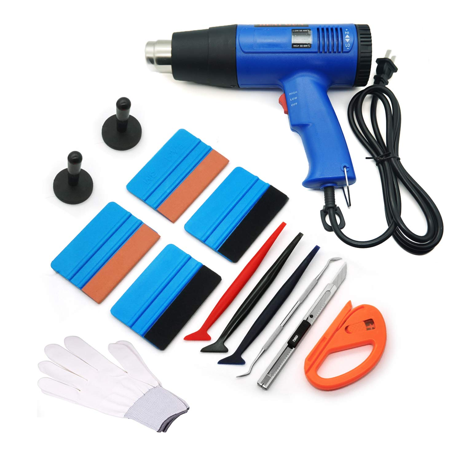 GUGUGI Professional Vinyl Wrap Tool Kit for Glass Protective Film Installing Window Tint Application Including Heat Gun, Squeegees, Vinyl Magnet, Work Gloves, Vinyl Knife, Utility Knife