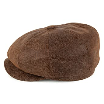c767b0a3493 Jaxon   James Leather Newsboy Cap - Brown  Amazon.co.uk  Clothing