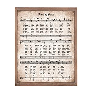 Amazing Grace Inspirational Quote Sign for Home Decor Vintage Wall Art with Antique Hymn