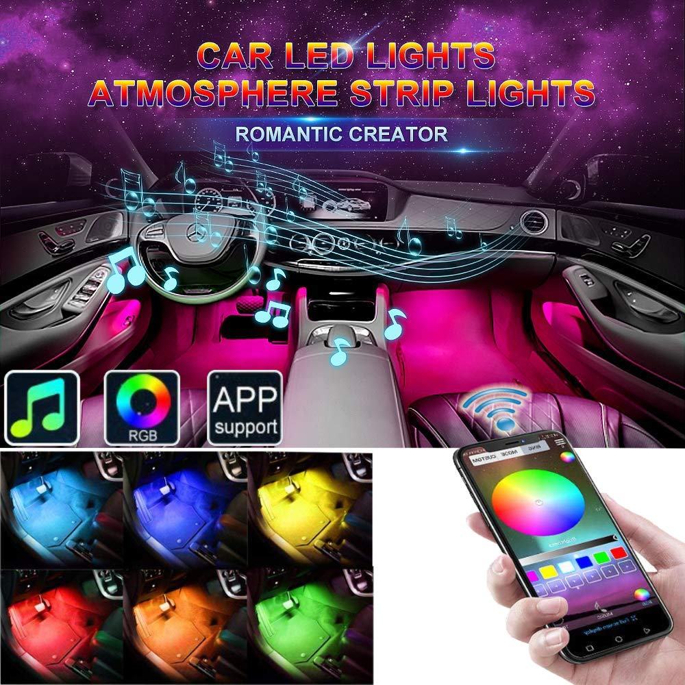 Car LED Strip Lights, EJ's SUPER CAR 4pcs 48 LED Bluetooth App Controller Car Interior Lights Multi Color Music Car Strip Light Under Dash Lighting Kit with Sound Active Function for iPhone iOS Androi