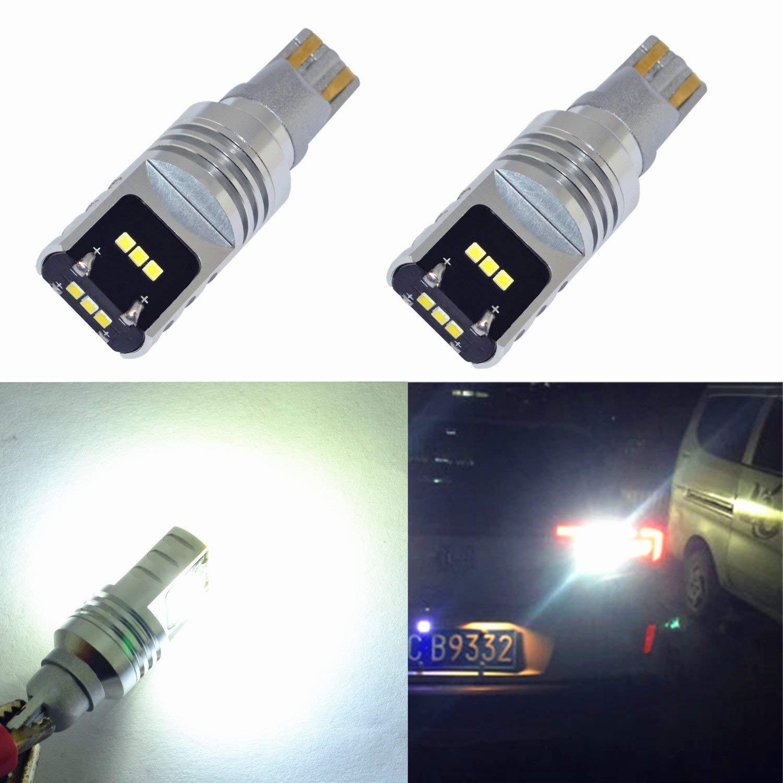 Alla Lighting 2200 Lumens Extremely Super Bright LED 912 921 Bulb Back Up Light 6000K Xenon White High Power T15 912 921 LED Bulbs CSP SMD W16W 921 LED Back-Up Reverse Light Lamp (Set of 2)