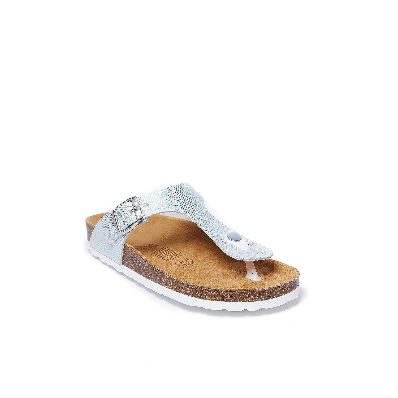 Sandalo Modello Blanca di colore Celeste in Eco-Pelle