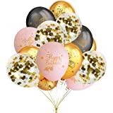 Birthday Party Decorations Balloons,30 Pack 12 Inches Latex Balloons (Gold & Black & Light Pink Color),12 Pack 12 Inches Gold Confetti Balloons- Party Decoration Accessories & Party Favors