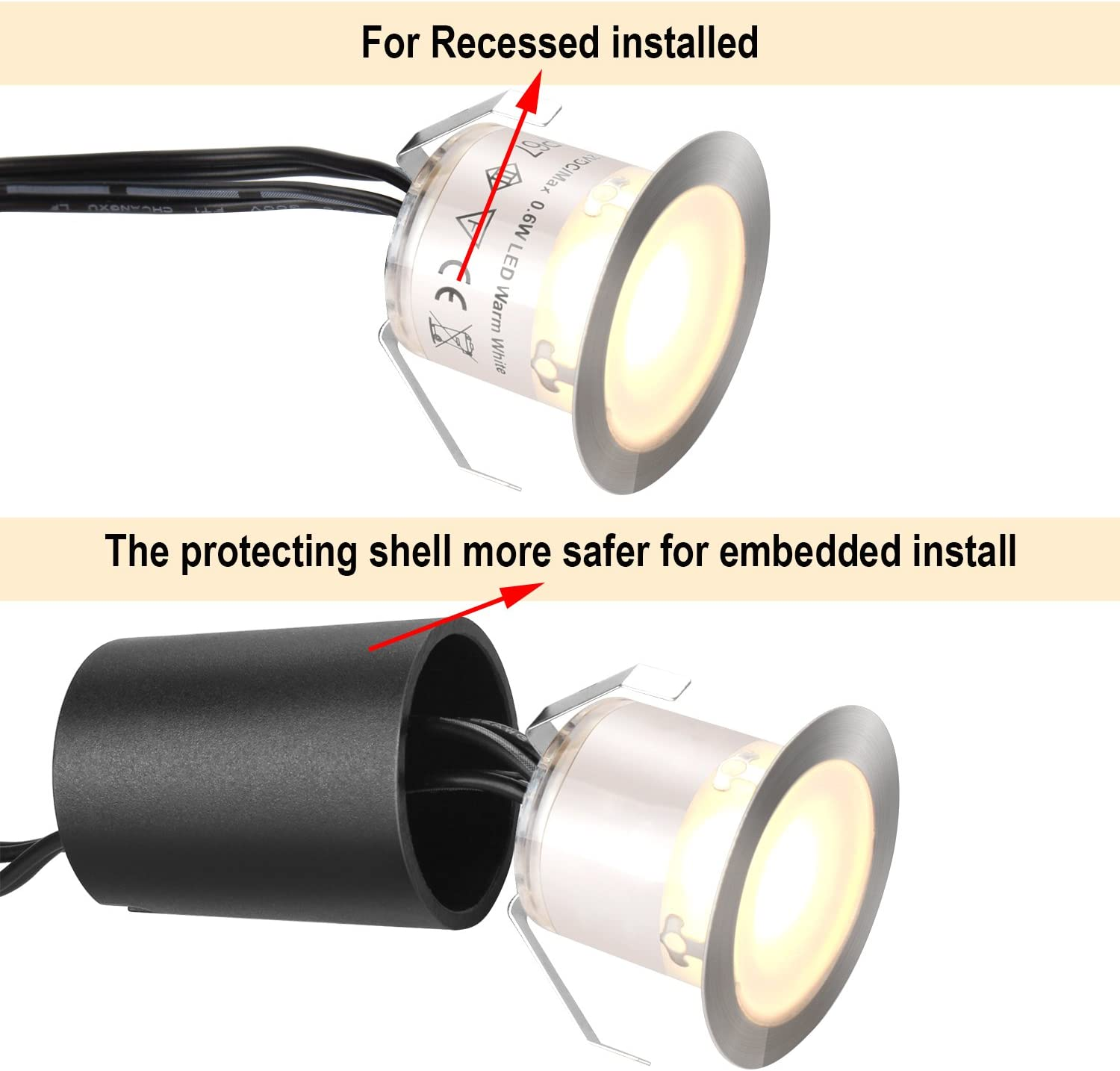 Recessed LED Deck Light Kits with Protecting Shell φ32mm, SMY In Ground Outdoor LED Landscape Lighting IP67 Waterproof, 12V Low Voltage for Garden, Yard Steps, Stair, Patio, Floor, Kitchen Decoration - -