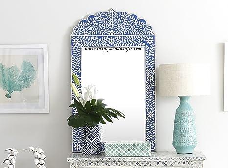 Amazon Com Luxury Handicrafts Bone Inlay Crested Mirror Blue